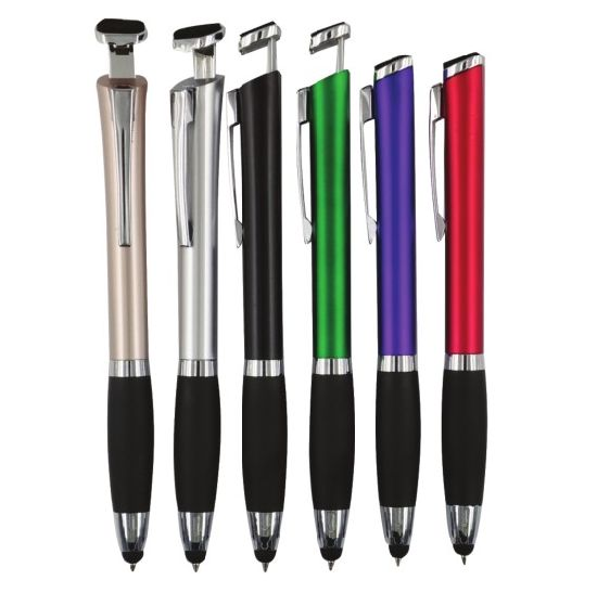 Phone Holder Stylus Plastic Ball Pen with Customized Logo
