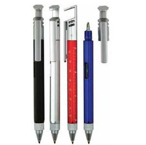 Multi-Function Tool Plastic Ball Pen with Srcrewdriver, Phone Holder, Spirit Level Gauge